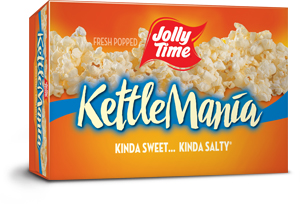 Jolly Time KettleMania Microwave Popcorn. Sweet and salty gourmet kettle corn flavor with Insta-Bowl popping bags.