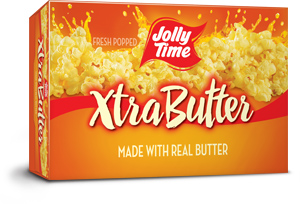 Jolly Time Xtra Butter Microwave Popcorn. An extra buttery flavor made with the trans-fat free Smart Balance oil blend thumbnail