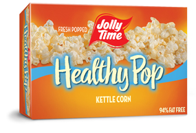 Jolly Time Healthy Pop Kettle Corn Microwave Popcorn. 94% fat free sweet salty kettle corn flavor endorsed by Weight Watchers