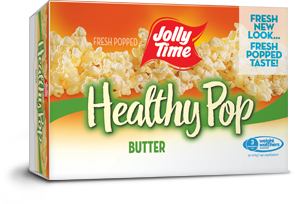 Jolly Time Healthy Pop Butter Microwave Popcorn. A 94% fat free popcorn endorsed by Weight Watchers to support a healthy diet.