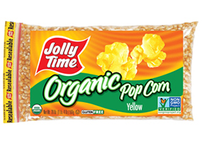 Jolly Time Organic Yellow Popcorn Kernels. USDA certified organic, non-GMO popcorn. Whole grain, high in fiber and gluten free.
