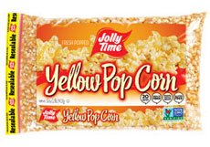 Jolly Time Yellow Unpopped Popcorn Kernels. A 2 pound poly bag of whole grain, non-GMO and gluten-free popping corn thumbnail.