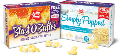 Jolly Time Blast O' Butter and Jolly Time Simply Popped popcorn