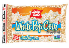 Jolly Time White Unpopped Popcorn Kernels. Tender white natural flavor butterfly kernels for stovetop popping or air poppers thumbnail