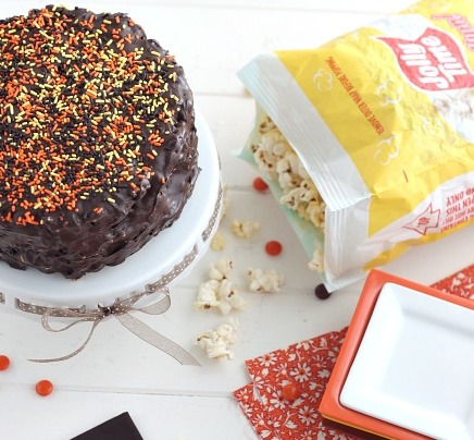 Chocolate Peanut Butter Popcorn Cake recipe
