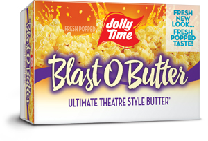 Image of a Blast O Butter JOLLY TIME popcorn box
