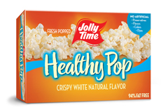 Jolly Time Healthy Pop Crispy 'n White Microwave Popcorn. 94% fat free natural flavor popcorn equal to 3 Weight Watchers points thumbnail