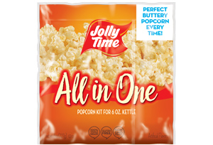 Jolly Time All in One Popcorn Kits. Portion packets with kernels, popping oil and salt for 6oz, 8oz and 12oz popcorn machines.