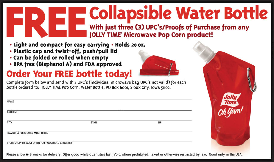 Mail In Rebate Offers >> Jolly Time Free Water Bottle