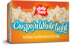 Jolly Time Crispy 'n White Light Microwave Popcorn. A lower calorie, natural flavor made from tender white whole grain kernels thumbnail