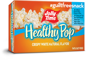 Jolly Time Healthy Pop Crispy 'n White Microwave Popcorn. 94% fat free natural flavor popcorn equal to 3 Weight Watchers points.