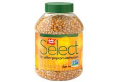 Jolly Time Select Yellow Popcorn Kernels. A jar of premium gourmet stovetop popping corn. Non-GMO and Gluten Free thumbnail